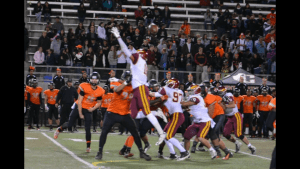 Contributed photo Caleb Kelly, a senior at Clovis West shows his athletic ability as he knocks down a pass in a game against Central last season. Kelly plays linebacker and will also line up on offense this coming year.