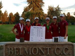 Photo courtesy of Clovis West The Clovis West girls' golf team won the TRAC 18-hole team tournament at Belmont Country Club on October 13. The team of two freshman, two sophomores and two juniors led the Golden Eagles.