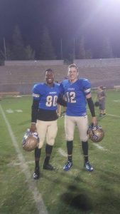 Photo courtesy of Steve Velasquez The Clovis Cougars dynamic receiving duo of J.J. Wills and Coltin Velasquez, one of the most talented in the state, pose after a Cougars victory. The two have been friends since first meeting in the 7th grade.