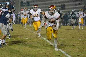 Photo by Jennifer Armstrong Clovis West senior Caleb Kelly turns up field in his team's 35-28 playoff loss to Bullard on November 20. Kelly holds offers from nearly every major college program as a linebacker. He scored two touchdowns in the game.