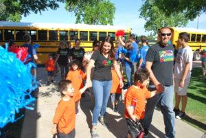 Students from Miramonte Elementary School enter the CUSD Mini-Olympics.