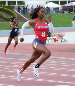Photo by Nick Baker Hannah Waller, the Buchanan senior and defending state champ in the 400, won the Masters 200, 400 and 400 and 1,600 relays, qualifying her for four events at the CIF State Track and Field Championships June 3-4 at Veterans Memorial Stadium.