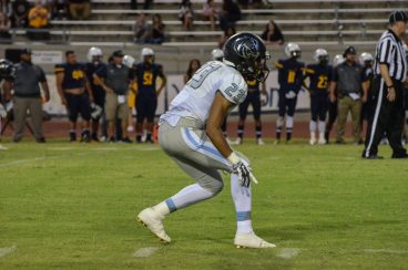 Clovis North No. 23 Isaiah Cordova had a game to remember against Sunnyside in the team's 30-6 victory when he stripped a ball carrier and sprinted for a 48-yard touchdown. He also recorded one of the team's three interceptions. [Photo by Nick Baker]