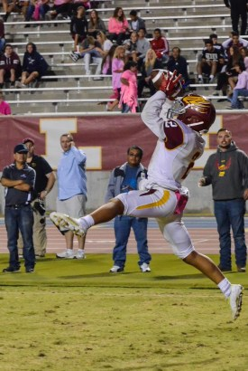 Photo by Nick Baker - Clovis West (4-2, 1-0) wide receiver Jayden Helms catches a 12-yard touchdown pass from Adrian Martinez to give the Golden Eagles a 24-12 lead in the fourth quarter.