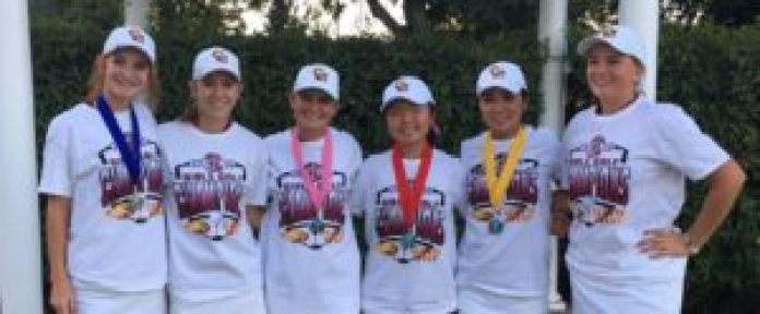 The Clovis West girls' golf team wrapped up another TRAC title this year and won their ninth Valley Championship in 11 years. rom left to right, Taylor Dufresne, Kayla Terrey, Allyson Musser, Aya Enkoji, Madison Nii, Claire Shubin. [Photo contributed]
