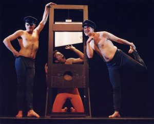 Guillotine scene from the show 666