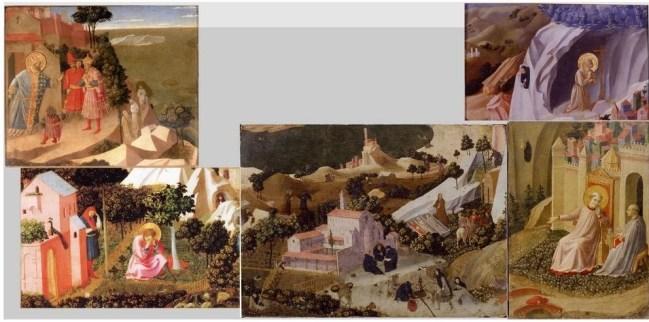 Reconstitution virtuelle de la prédelle de La Thébaïde de Fra Angelico, dont le musée Thomas Henry conserve un fragment, La Conversion de saint Augustin (en bas à gauche). Les quatre autres fragments sont conservés au musée Condé de Chantilly, au musée des Beaux-arts d'Anvers, au musée de Philadelphie et dans une collection particulière.