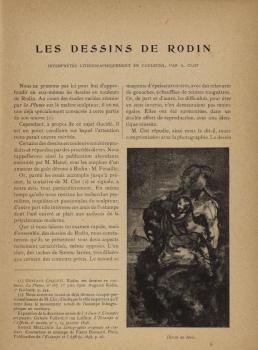 """Page extraite du volume """"Auguste Rodin et son Oeuvre"""" édité par la revue La plume (c) Musée Rodin"""