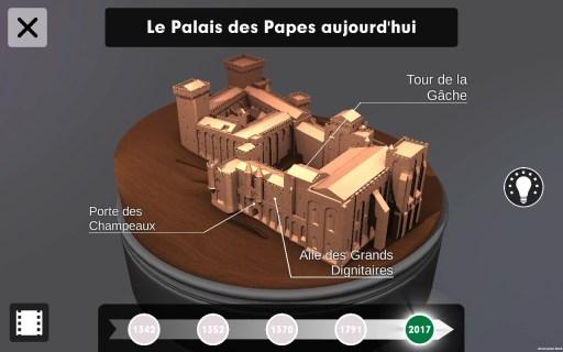 Capture d'écran de l'application. Le Palais des Papes aujourd'hui © Histovery