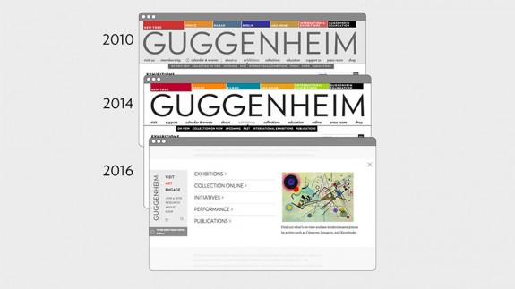 Evolution du design du site web de la Fondation Guggenheim de 2010 à 2016