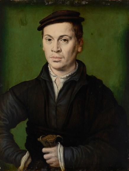 Homme au béret noir tenant une paire de gants, vers 1530. © Photo : MBA Lyon / Alain Basset