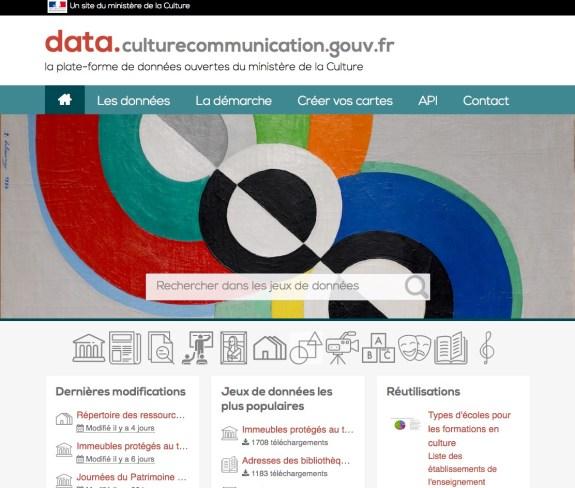 Page d'accueil de la plateforme de données ouvertes du ministère data.culturecommunication.gouv.fr