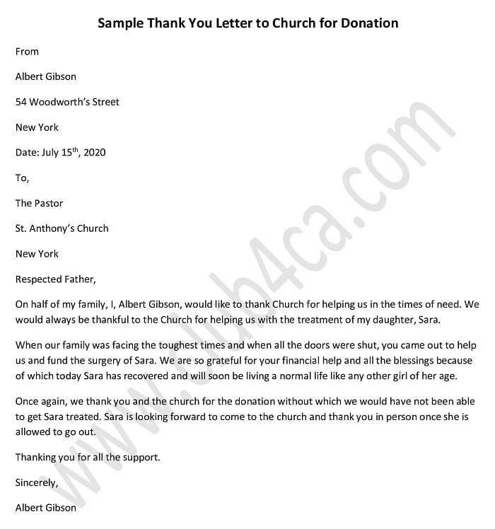 A letter of intent to donate is a formal declaration of one's desire to submit a donation to an organization or business. Thank You Letter Template For Donation To Church