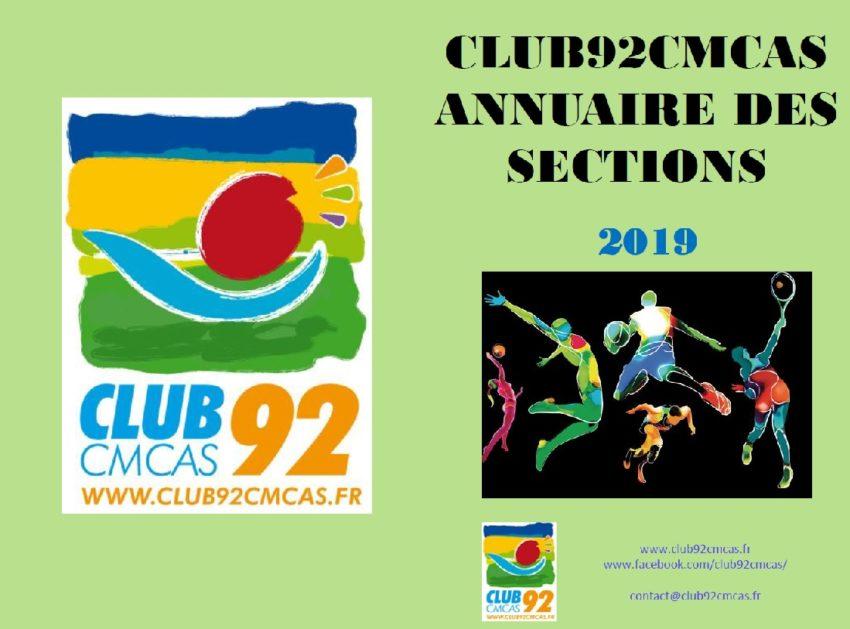 Annuaire Club92Cmcas des sections – Septembre 2019