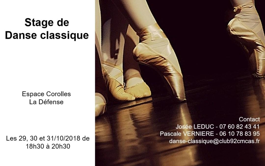 Stage Danse Classique vacances Toussaint 2018