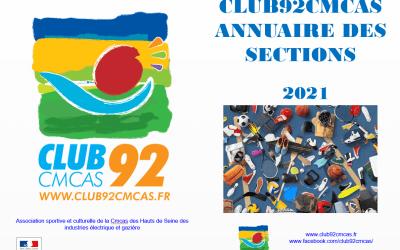 Annuaire Club92Cmcas des sections – Août 2021