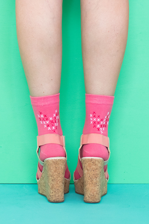 DIY Faux Cross Stitch Socks | Club Crafted