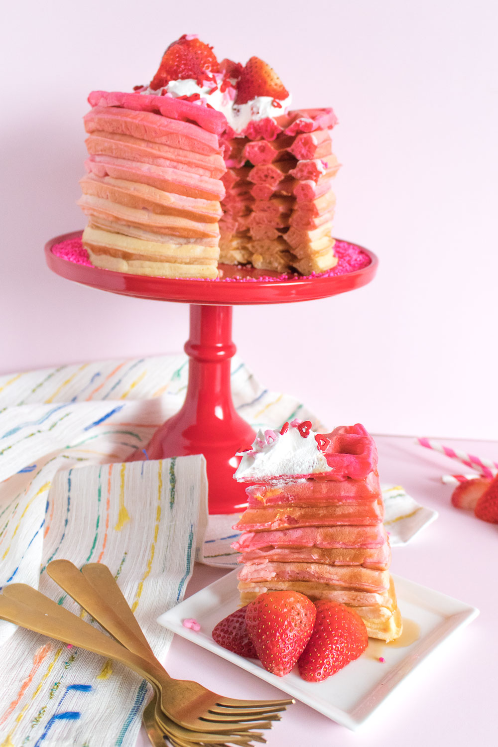 Pink Ombre Waffle Cake   Club Crafted