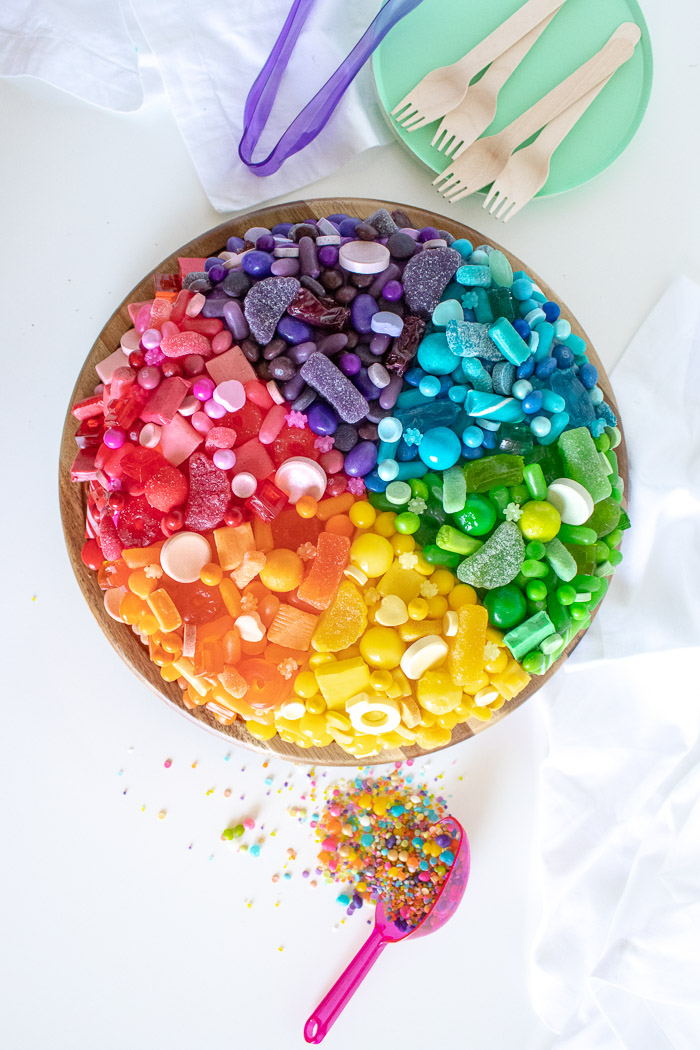 A Fun Candy-Covered Color Wheel Cake | Club Crafted
