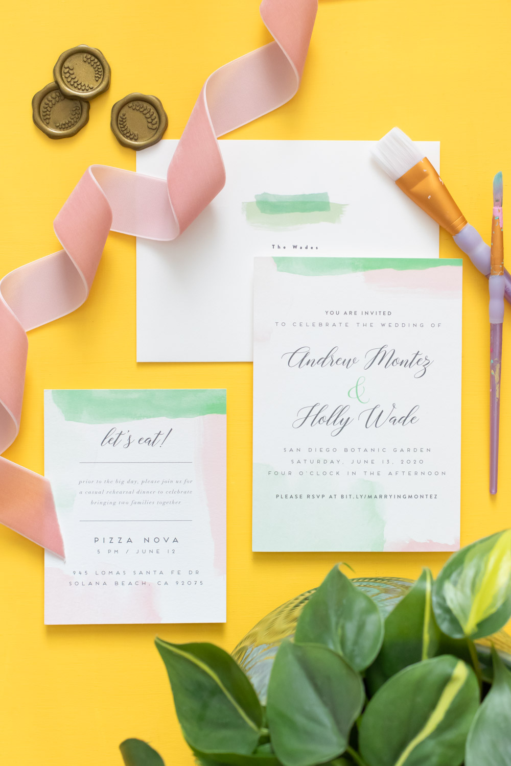 Minted watercolor wedding invitations on yellow background
