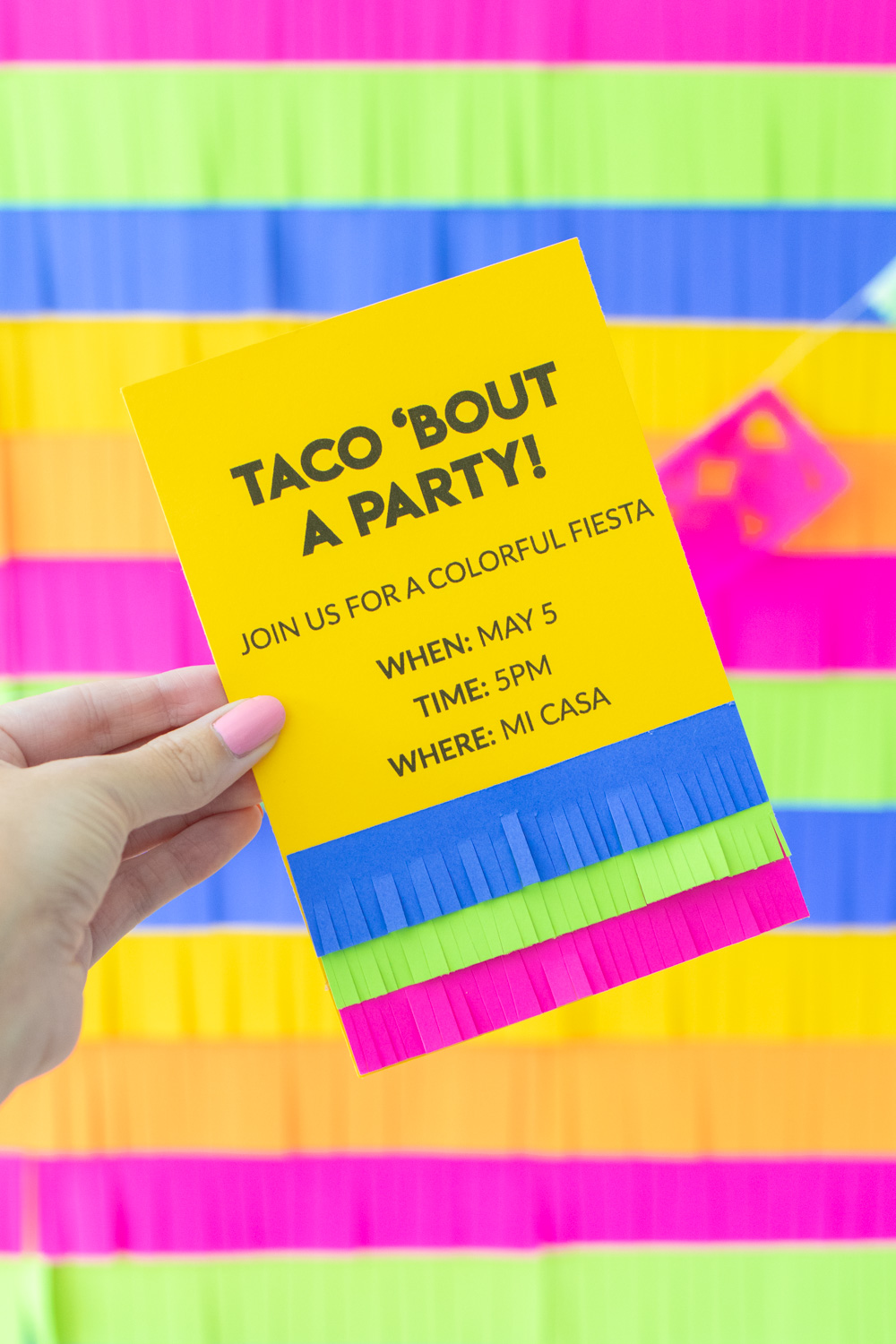 fringe invitations against fiesta party backdrop