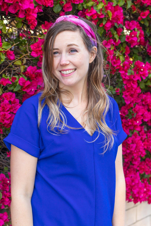 woman wearing tie dye handkerchief as headband