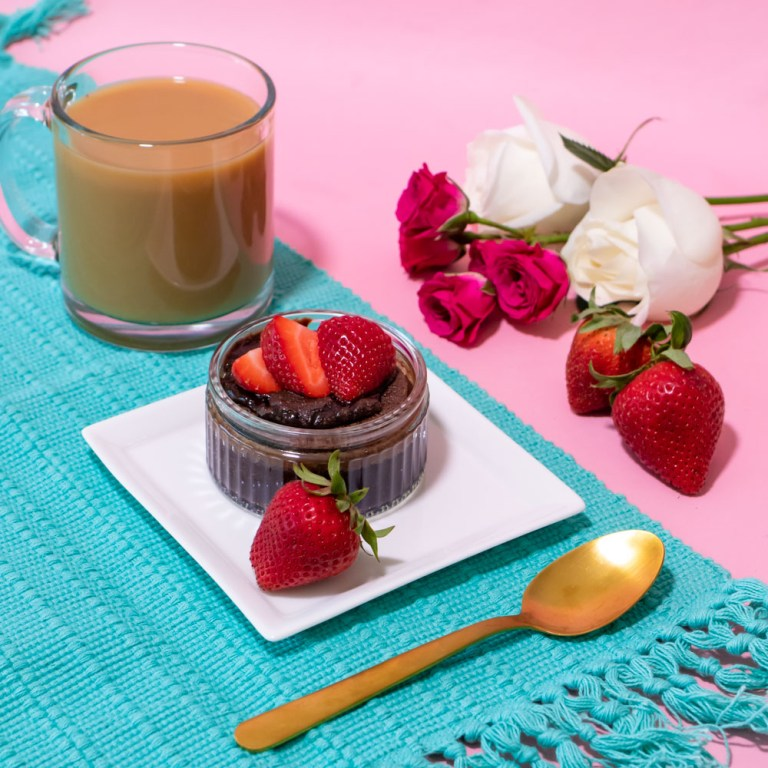 content creation photography of lava cake on pink background