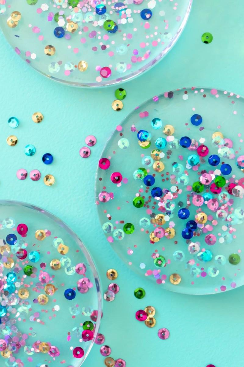 closeup of sequin confetti in resin coasters