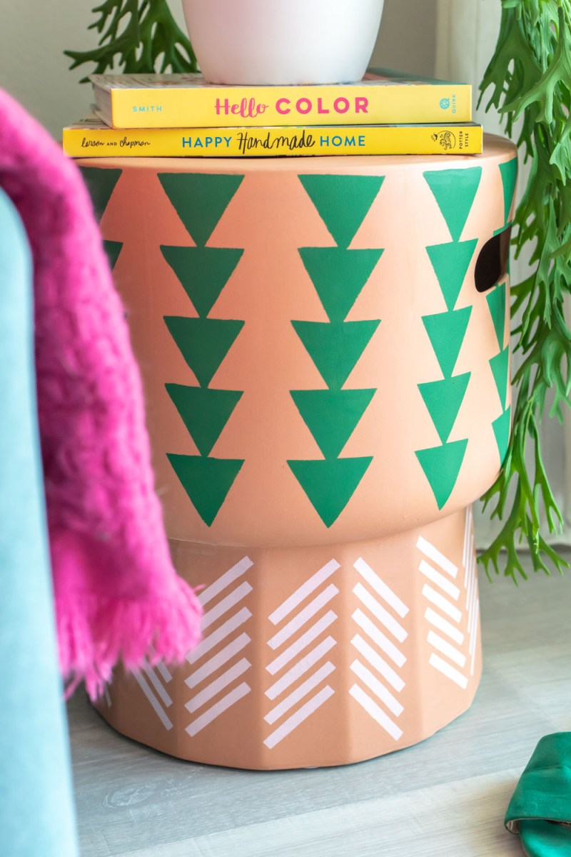 side view of stenciled stool with triangle pattern
