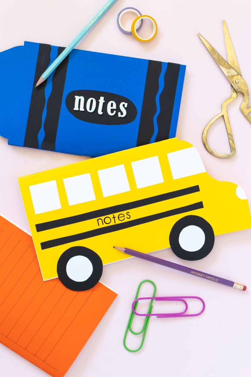 school bus notebook with stickers and crayon notebook
