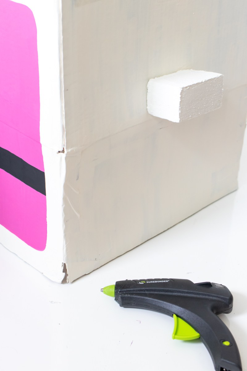gluing styrofoam to costume box