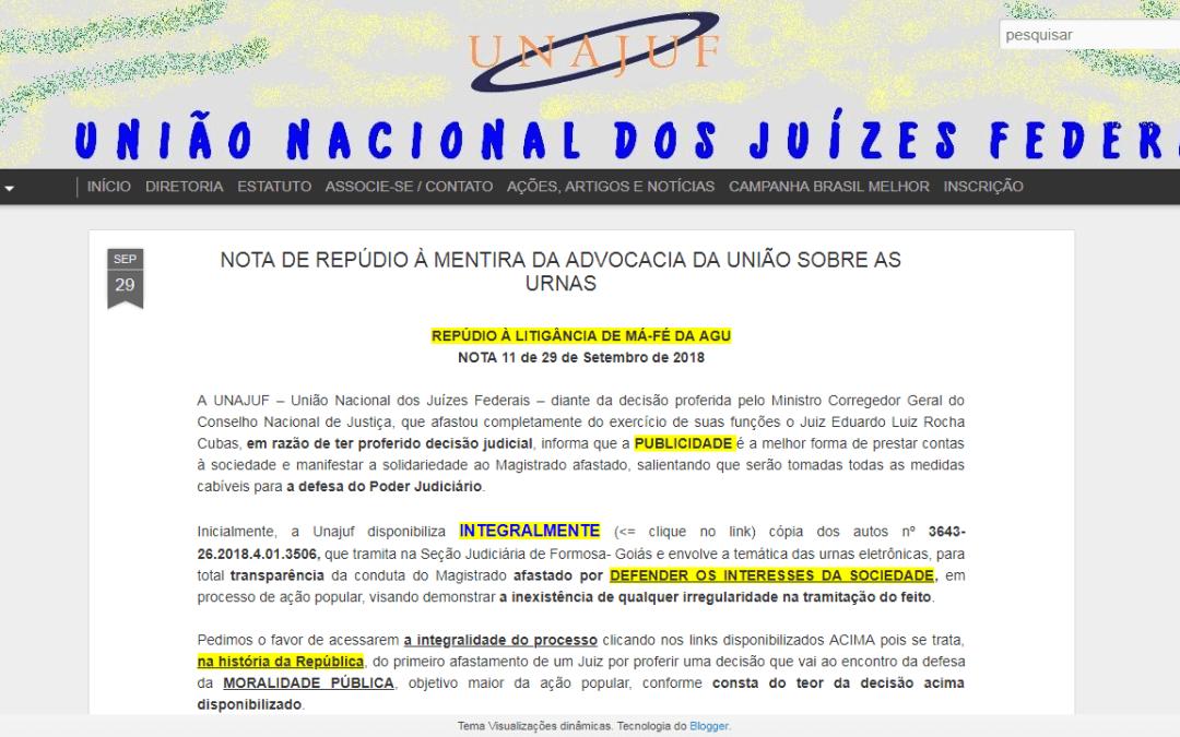 NOTA DE REPÚDIO À MENTIRA DA ADVOCACIA DA UNIÃO SOBRE AS URNAS