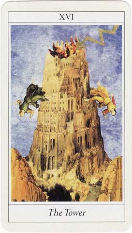 A Casa de Deus ou Torre no Lovers Tarot de Jane Lyle