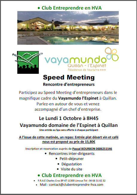 invitation speed meeting à Quillan
