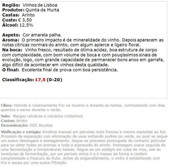 apreciacao Quinta da Murta Branco 2012