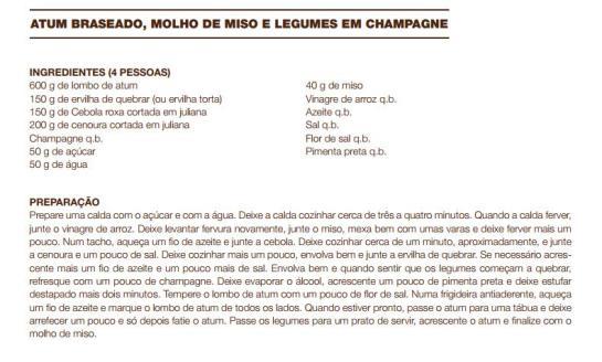 receita Atum Braseado, Molho de Miso e Legumes em Champagne