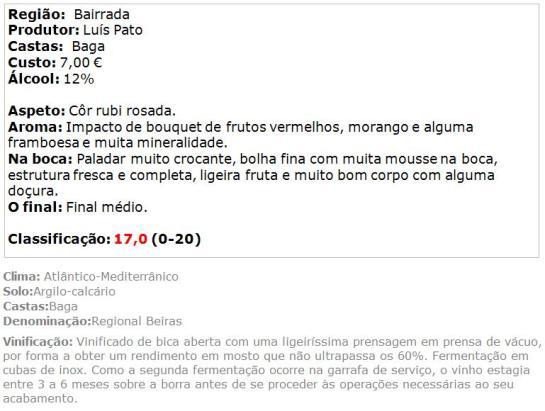apreciacao Espumante Luis Pato Baga Bruto 2011