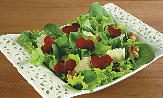 saladas de folhas verdes