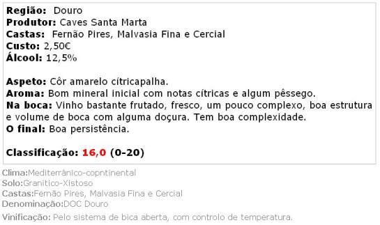 apreciacao Caves Santa Marta Branco 2013