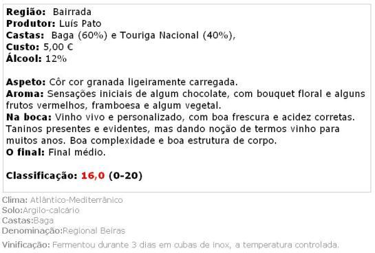 apreciacao Luís Pato Baga e Touriga Nacional 2010
