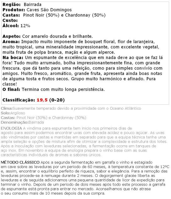 apreciacao São Domingos Velha Reserva Bruto Branco 2006