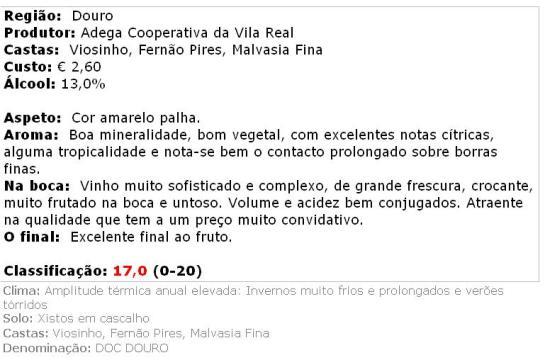 apreciacao Vila Real - Reserva Branco 2013