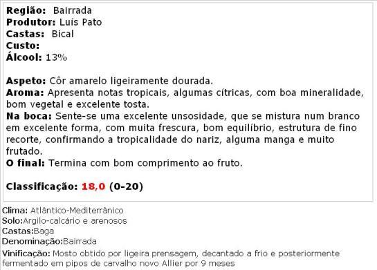 apreciacao aa Luis Pato Vinha Formal Branco