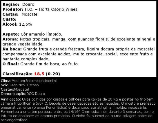 apreciacao HO Moscatel Galego Reserva Branco 2013