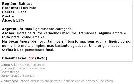 apreciacao Luis Pato Baga Natural Tinto 2013