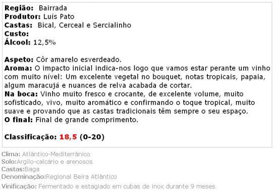 apreciacao Luis Pato Vinhas Velhas Branco 2013
