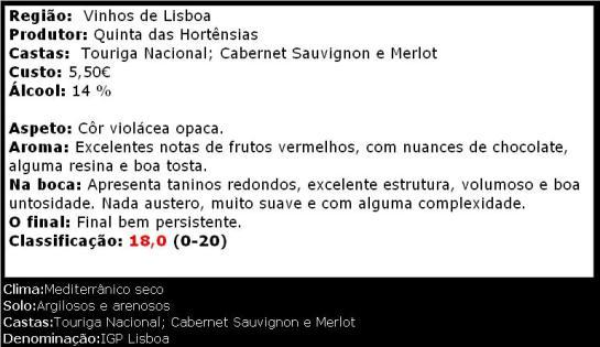 apreciacao Quinta das Hortênsias Tinto 2009