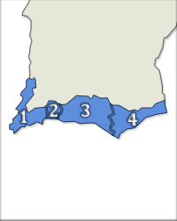 Denominações de Origem 1 - Lagos; 2 - Portimão; 3 - Lagoa; 4 - Tavira.