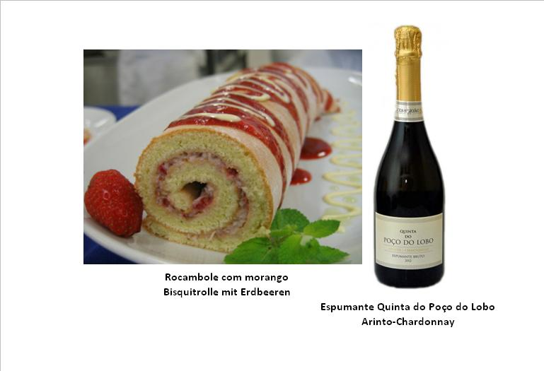 Rocambole com morango / Bisquitrolle mit Erdbeeren