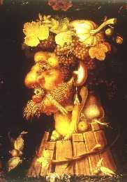 """O """"Outono"""", óleo da série das Quatro Estações de Gioseppe Arcimboldo (1537 - 1593). Figura metafórica alegórica típica do mundo peculiar do mestre italiano exótico.  Representa um homem de perfil elaborado com os frutos das colheitas e particularmente das vindimas, e as tábuas de tanoeiro."""